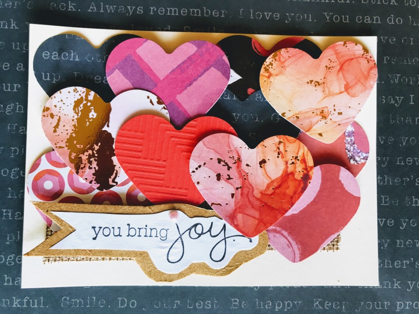 Cardstock hearts and joy sentiment