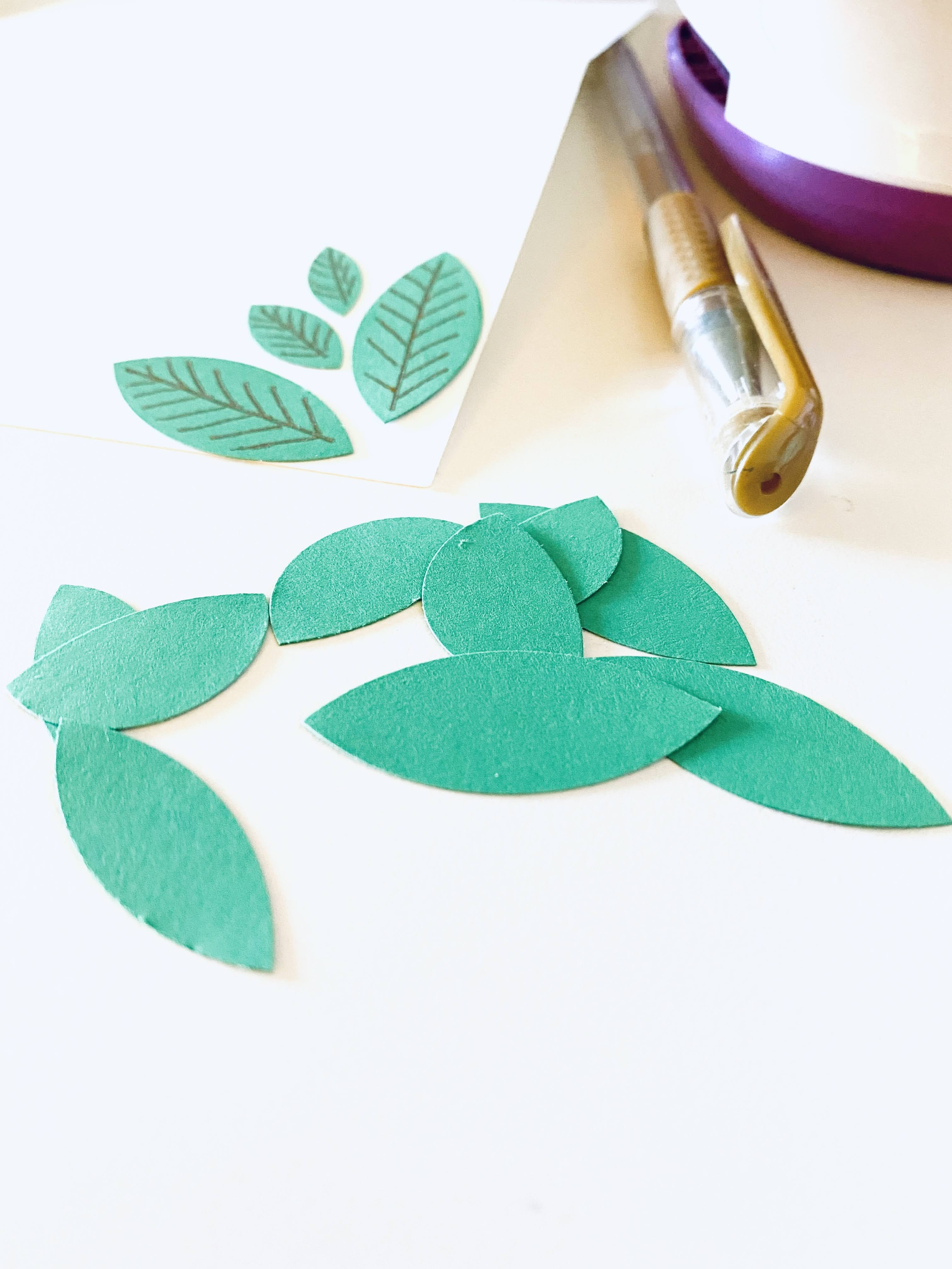 Cut leaves from circle paper cardstock card making