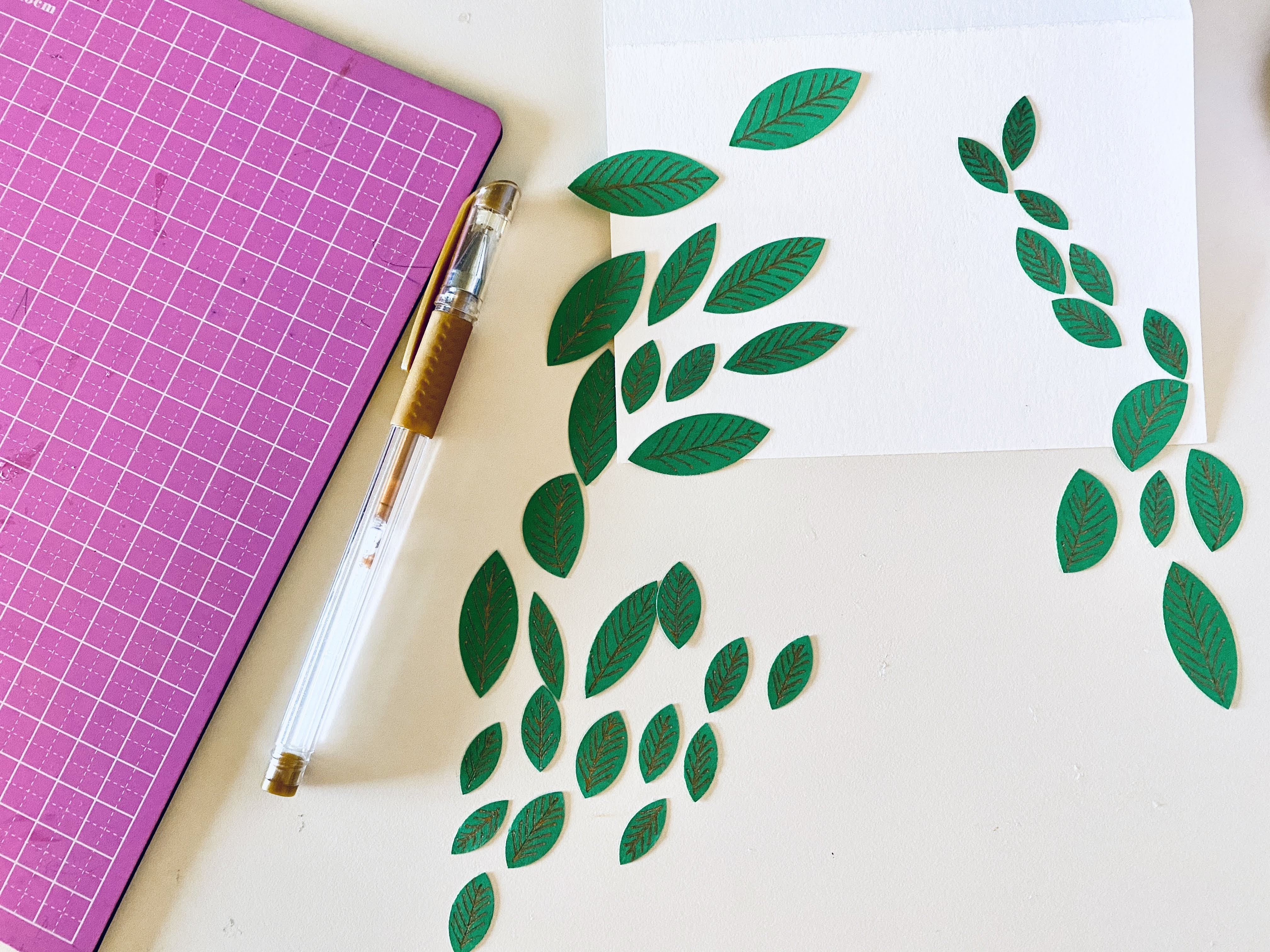 Green leaves blank card paper crafts