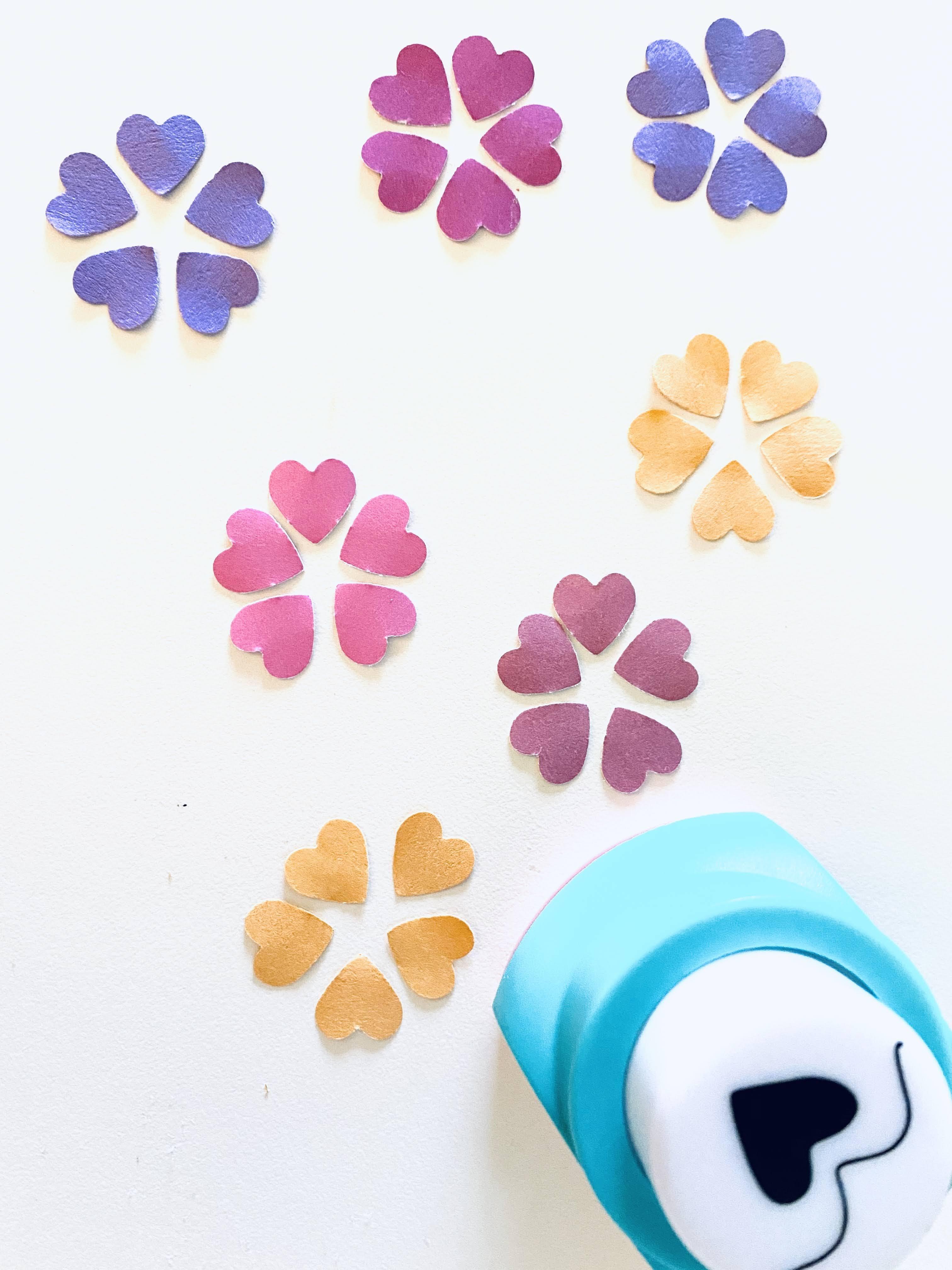 Heart petals orange yellow pink magenta and purple cardstock