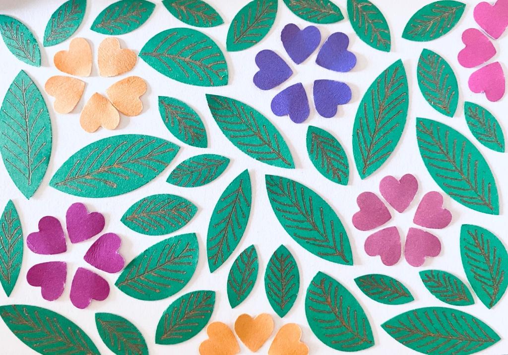 Flower leaf pattern cardstock