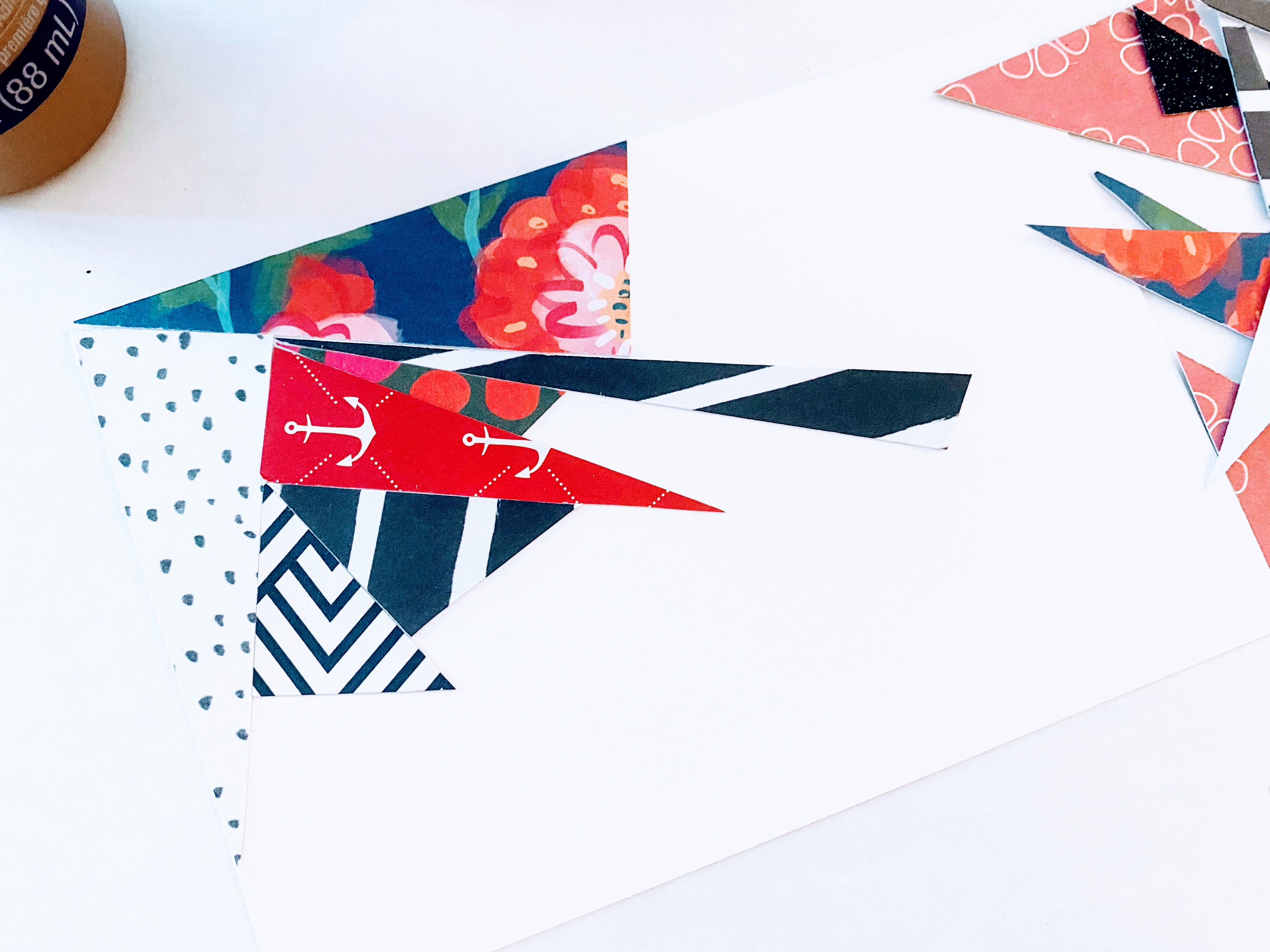 This image shows how we assembled the abstract art card.  We cut various triangles out and starting fitting pieces together.