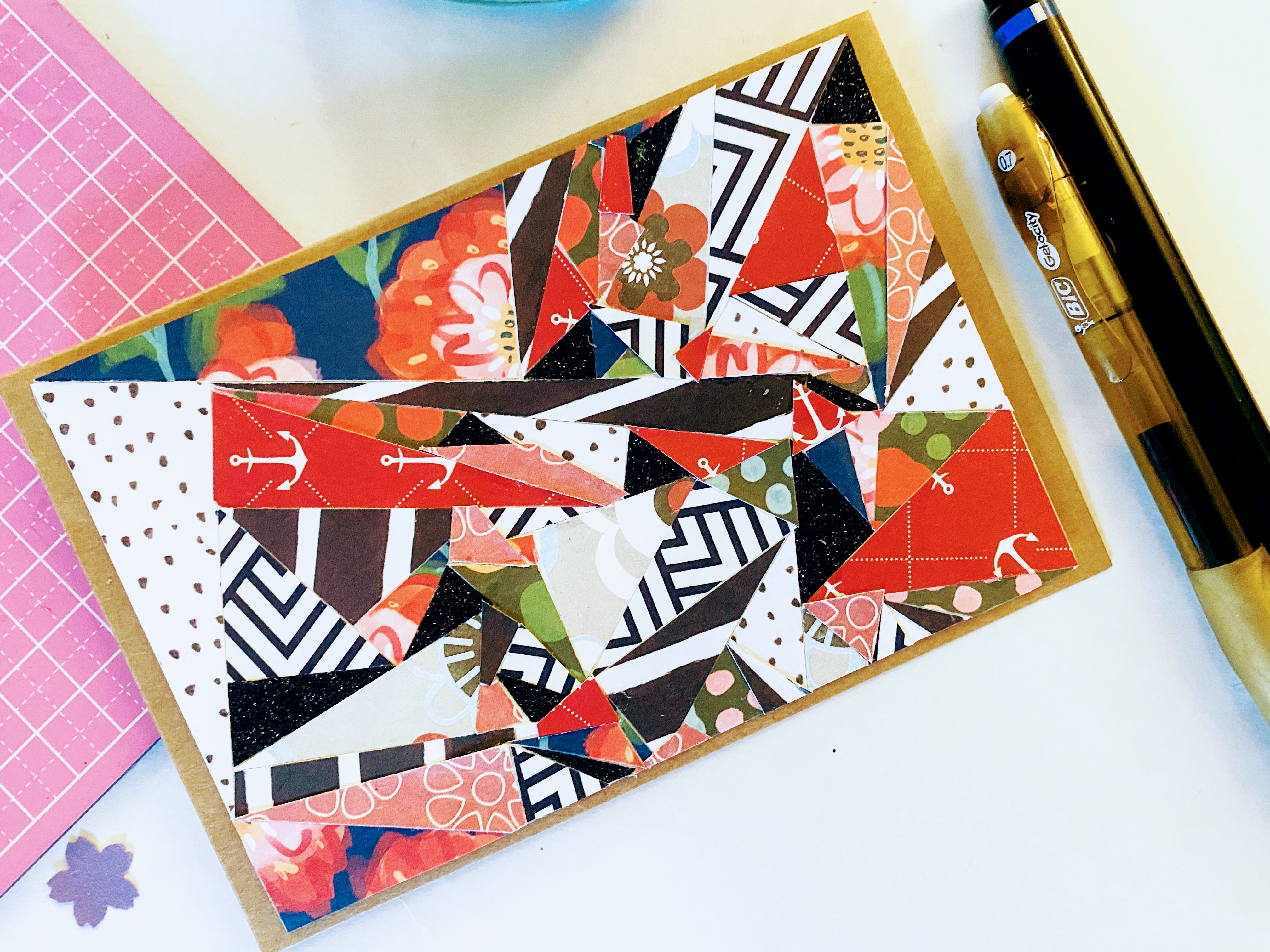 Our abstract card made from cardstock, patterned paper, scrapbook paper and other beautiful paper.