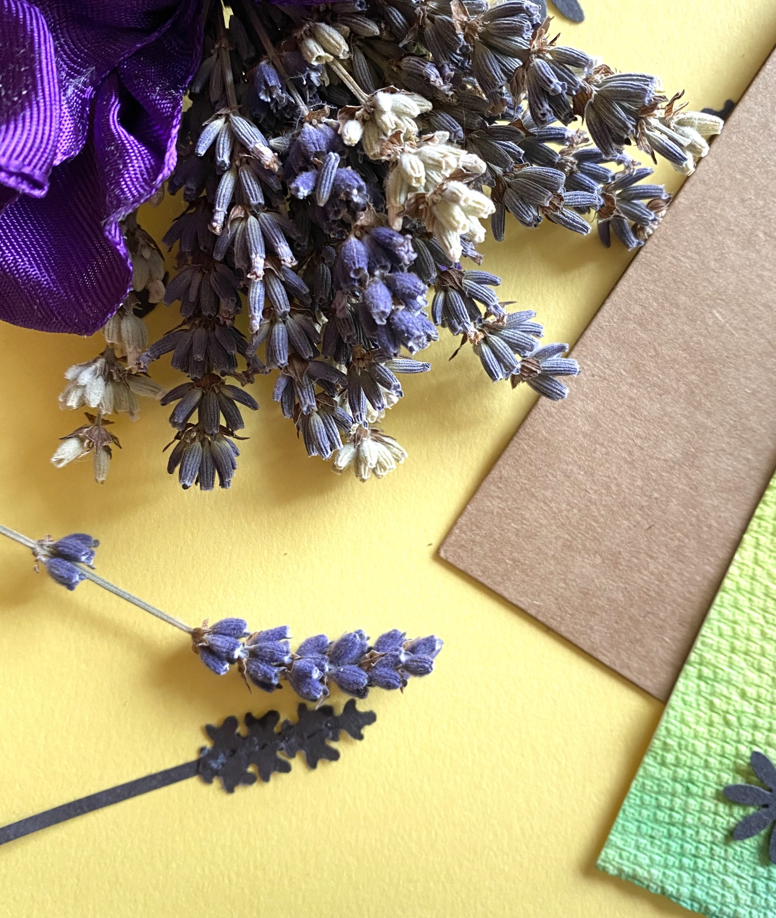 Dried lavender next to a paper lavender
