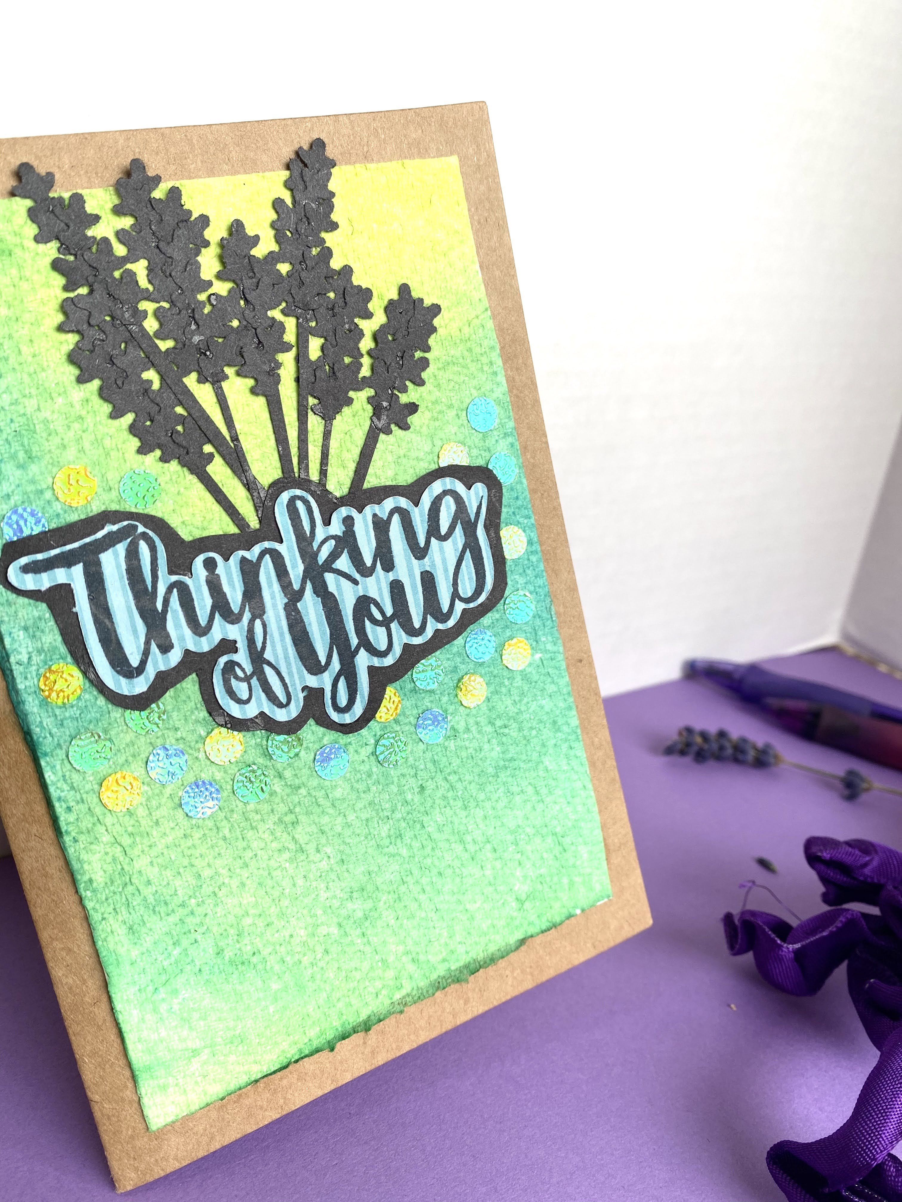 Silhouette of Lavender Flowers  Homemade Card