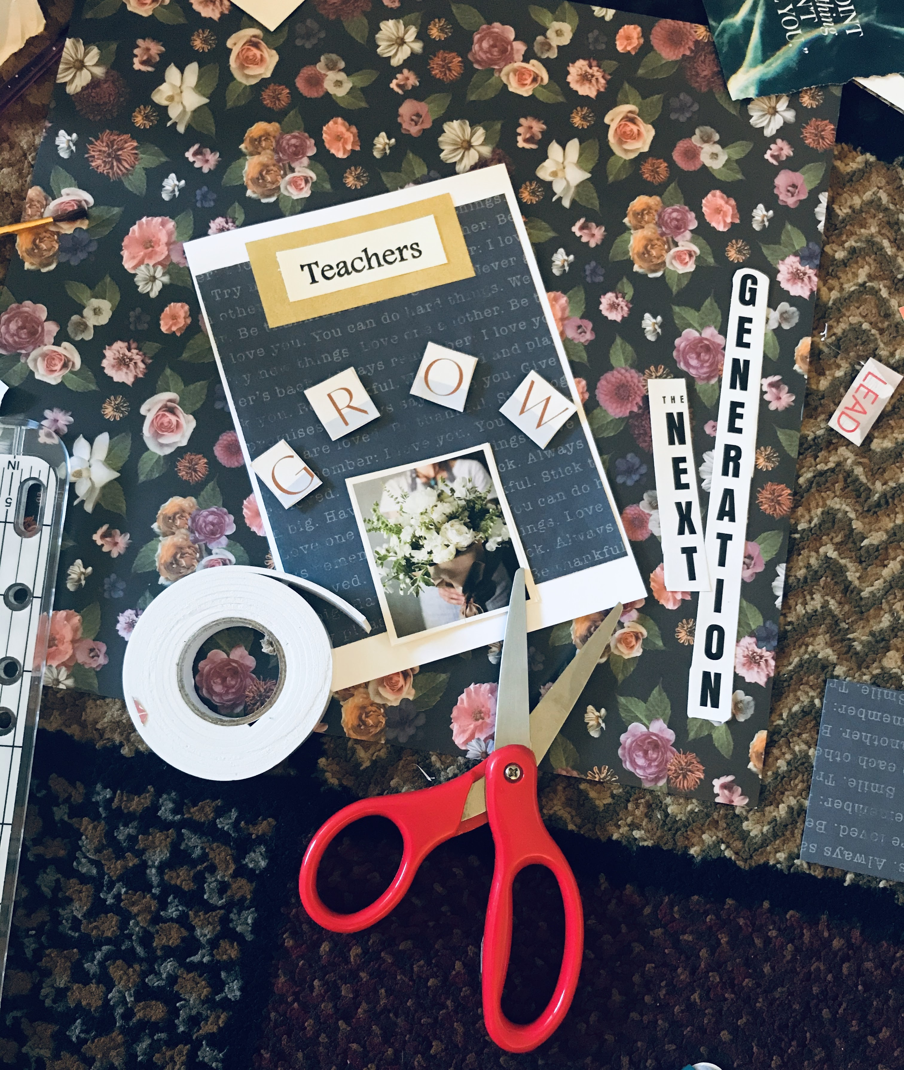 Homemade using upcycled magazines, glue, scissors and foam tape.