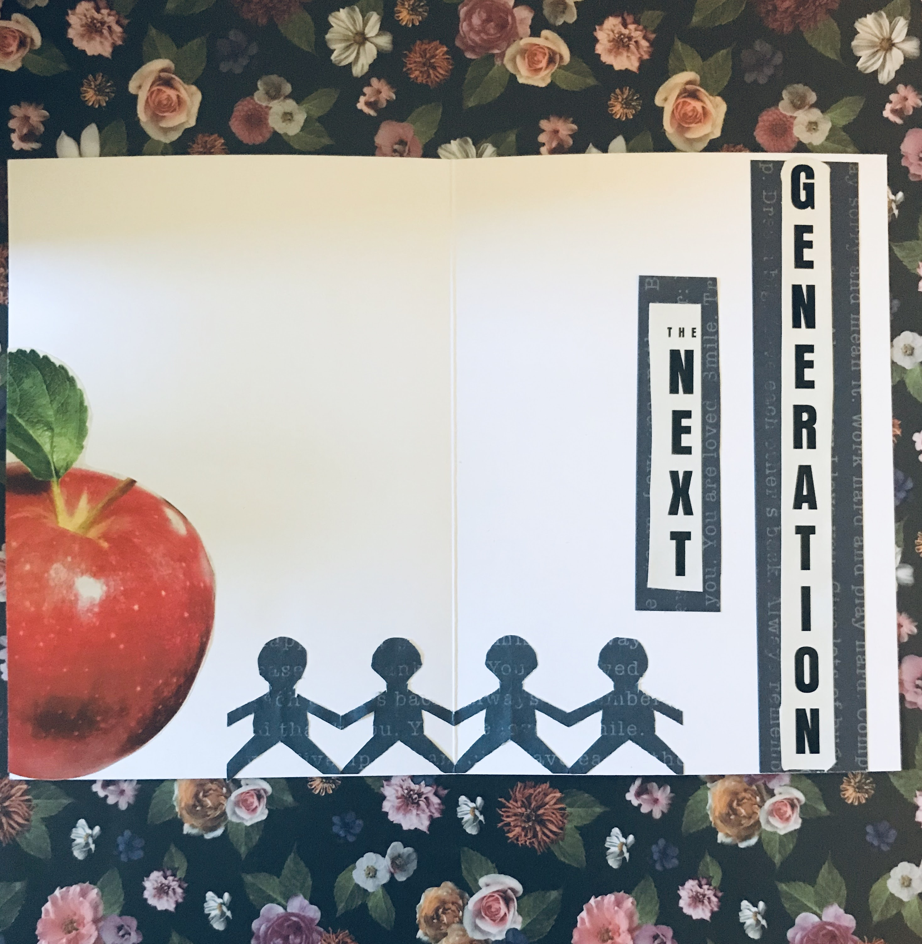 """Inside of homemade card with """"the next generation"""" and red apple."""